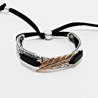 Feather Accented Leather Adjustable Bracelet