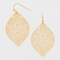 Filigree Metal Leaf Cut out Earrings