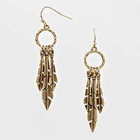 Vintage Feather Drop Hoop Earrings