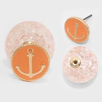 Double Sided Cracked Glass Bead Anchor Stud Earrings