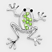 Crystal Accented Frog Brooch