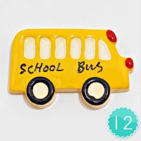 12 PCS - School Bus Resin Cabochons