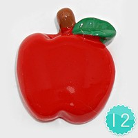 12 PCS - Apple Resin Cabochons