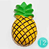 12 PCS - Pineapple Resin Cabochons