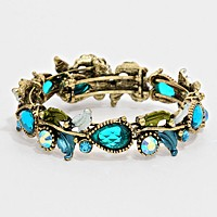 Glass crystal & metal vine open bracelet