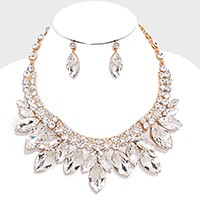 Marquise Crystal Rhinestone Petal Collar Necklace
