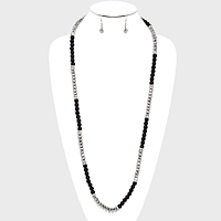 Metallic Bead & Pearl Long Necklace