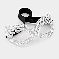 Glass crystal marquise cat eye mask