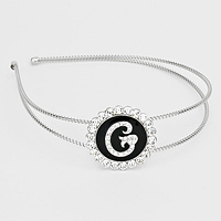 'G' Crystal Accented Monogram Headband