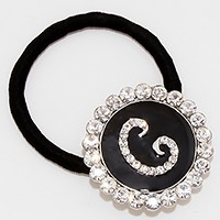 'C' Crystal Accented Monogram Ponytail Hair Band