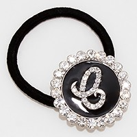 'E' Crystal Accented Monogram Ponytail Hair Band