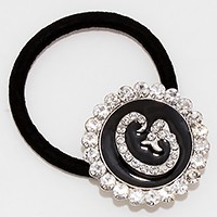 'G' Crystal Accented Monogram Ponytail Hair Band