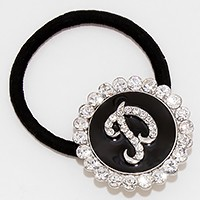 'P' Crystal Accented Monogram Ponytail Hair Band