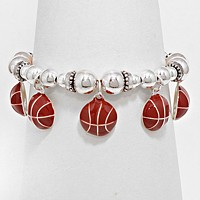 Enamel Basketball Ball Stretch Bracelet