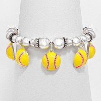 Enamel Baseball Ball Stretch Bracelet