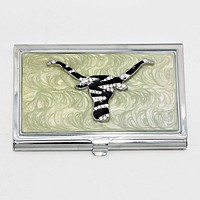 Zebra Patterned Bulls Card Holder