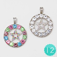 12 PCS - Crystal Star Cut out Pendant Set
