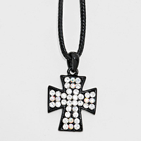 Crystal Pave Cross Pendant Necklace