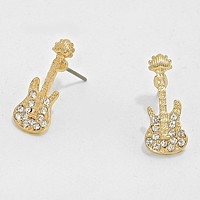 Crystal Accented Guitar Stud Earrings