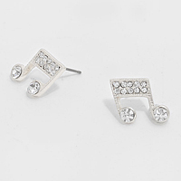 Crystal Accented Note Stud Earrings