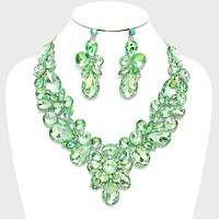 Floral Crystal Rhinestone Statement Evening Necklace