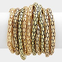 10 PCS - Metal Mesh Tube Stack Stretch Bracelets