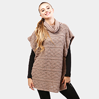 Geometric Cowl Neck Button Poncho