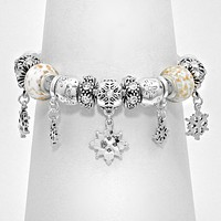 Multi Bead Filigree Charm Bracelet
