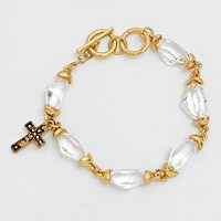 Cross Accented Glass Stone Link Bracelet