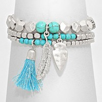 Multi-Layered Tassel & Feather Drop Stretch Bracelet