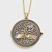 Tree of Life Pendant Necklace with Magnifying Glass