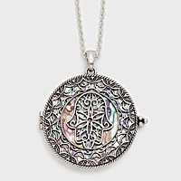 Hamsa Hand Pendant Necklace with Magnifying Glass