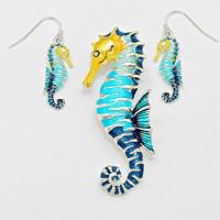 Colorful Sea Horse Pendant Set