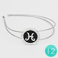 'H' 12 PCS - Crystal Accented Monogram Headbands