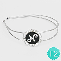 'N' 12 PCS - Crystal Accented Monogram Headbands