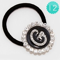 'G' 12 PCS - Crystal Accented Monogram Ponytail Hair Bands