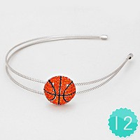 12 PCS - Crystal Pave Basketball Ball Headbands