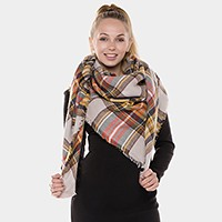 Plaid check square blanket scarf