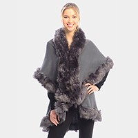 Layered Half Cape Poncho with Fur Trim