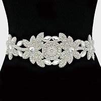 3-Ways Floral Crystal Ribbon Belt