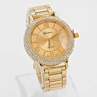 Rhinestone Accented Metal Watch