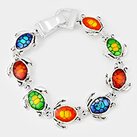 Colorful Enamel Turtle Link Magnetic Bracelet
