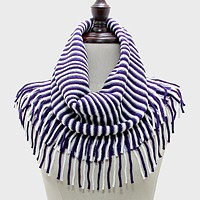 Two Tone Snood Tube Scarf with Fringe