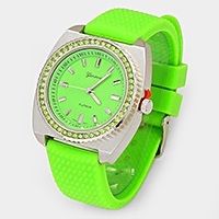 SQUARE FRAME JELLY BAND FASHION WATCH