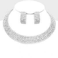 5Rows Crystal Rhinestone Choker Cuff Necklace