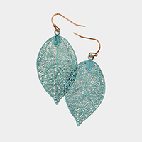 Metal Leaf Drop Earrings