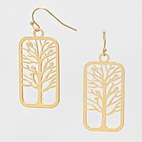 Rectangle Tree of Life Cut out Earrings