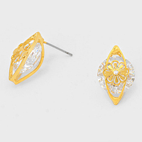 Round Crystal CZ Flower Cut out Earrings