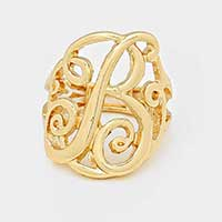 'B' Monogram Stretch Ring