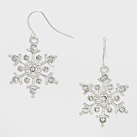 Crystal Accented Snow Flake Earrings